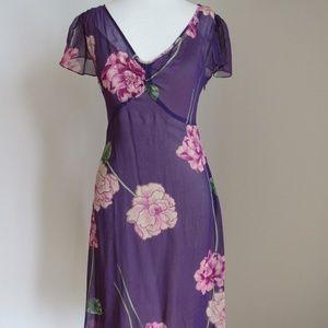 BCBG Maxazria purple floral 100% silk dress